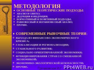 СОВРЕМЕННЫЕ РЫНОЧНЫЕ ТЕОРИИ: ВЫХОДА ИЗ ФИНАНСОВО-ЭКОНОМИЧЕСКОГО КРИЗИСА; ГЛОБАЛИ