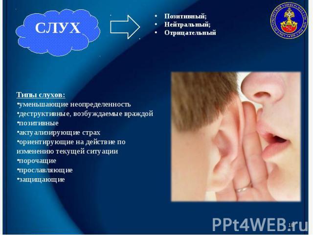 * Типы слухов: уменьшающие неопределенность деструктивные, возбуждаемые враждой позитивные актуализирующие страх ориентирующие на действие по изменению текущей ситуации порочащие прославляющие защищающие Позитивный; Нейтральный; Отрицательный. СЛУХ