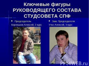 Ключевые фигуры РУКОВОДЯЩЕГО СОСТАВА СТУДСОВЕТА СПФ Председатель Кореньков Алекс