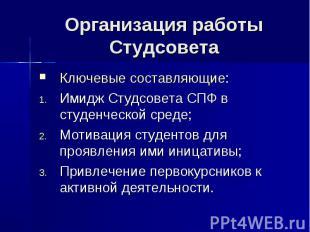 Организация работы СтудсоветаКлючевые составляющие:Имидж Студсовета СПФ в студен