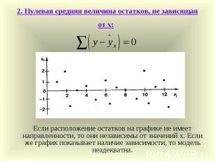 2. Нулевая средняя величина остатков, не зависящая от х: Если расположение остат