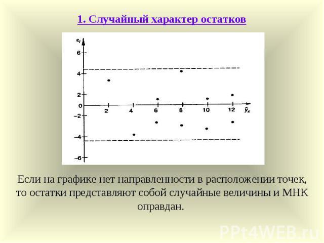 1. Случайный характер остатков Если на графике нет направленности в расположении точек, то остатки представляют собой случайные величины и МНК оправдан.