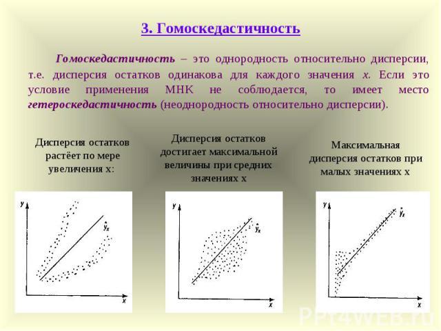 3. Гомоскедастичность Гомоскедастичность – это однородность относительно дисперсии, т.е. дисперсия остатков одинакова для каждого значения х. Если это условие применения МНК не соблюдается, то имеет место гетероскедастичность (неоднородность относит…