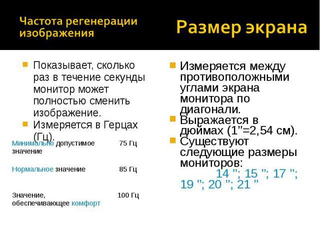 Измеряется между противоположными углами экрана монитора по диагонали. Выражается в дюймах (1''=2,54 см). Существуют следующие размеры мониторов: 14 ''; 15 ''; 17 ''; 19 ''; 20 ''; 21 '' Показывает, сколько раз в течение секунды монитор может полнос…