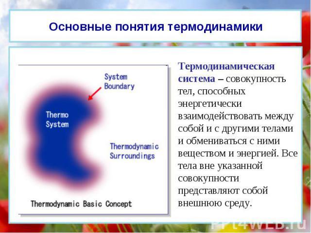 Термодинамическая система – совокупность тел, способных энергетически взаимодействовать между собой и с другими телами и обмениваться с ними веществом и энергией. Все тела вне указанной совокупности представляют собой внешнюю среду. Основные понятия…