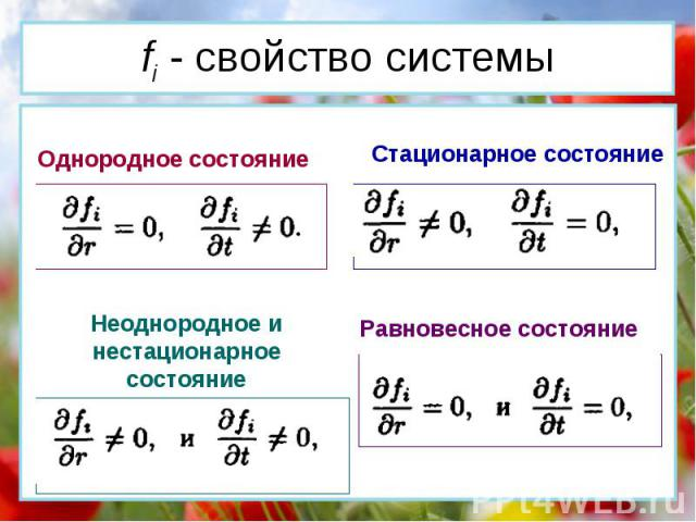 Однородное состояние Стационарное состояние Неоднородное и нестационарное состояние Равновесное состояние fi - cвойство системы
