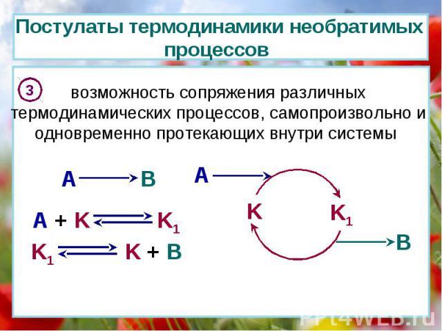 Постулаты термодинамики необратимых процессов 3 возможность сопряжения различных термодинамических процессов, самопроизвольно и одновременно протекающих внутри системы A B K K1 A B A + K K1 K1 K + B