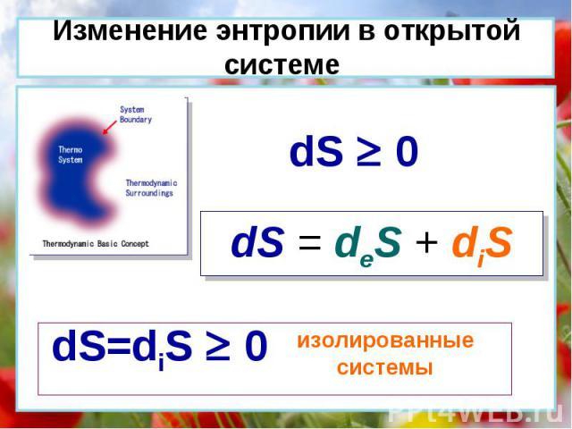dS = deS + diS dS 0 dS=diS 0 изолированные системы Изменение энтропии в открытой системе