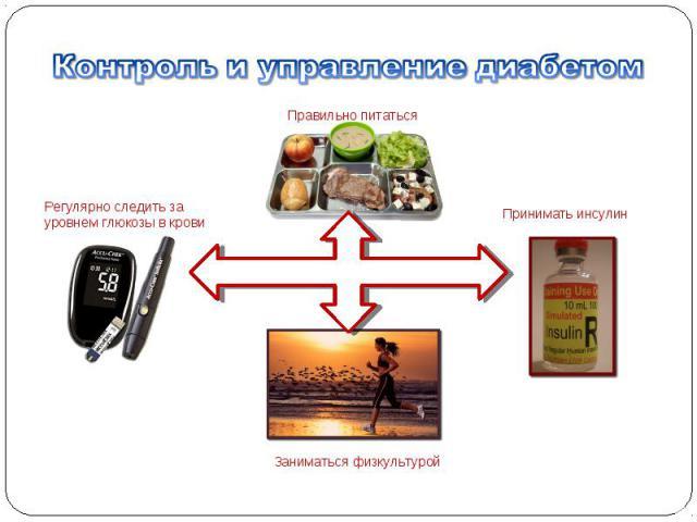 Регулярно следить за уровнем глюкозы в крови Правильно питаться Принимать инсулин Заниматься физкультурой