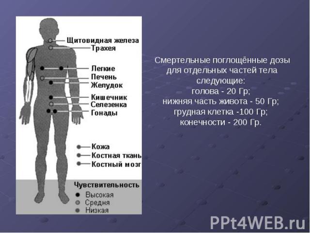 Смертельные поглощённые дозы для отдельных частей тела следующие: голова - 20 Гр; нижняя часть живота - 50 Гр; грудная клетка -100 Гр; конечности - 200 Гр.