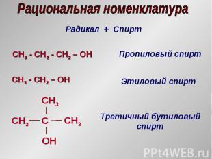 Радикал + Спирт CH3 - СH2 - CH2 – OH Пропиловый спирт CH3 - СH2 – OH Этиловый сп