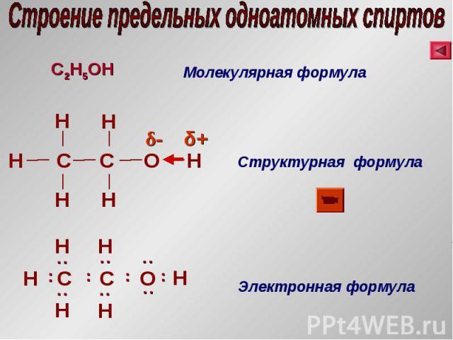 C2H5 OH Молекулярная формула H С H С H H H H O Структурная формула Электронная формула С С H H O .. H H H .. .. .. .. .. .. H .. .. .. δ+ δ-