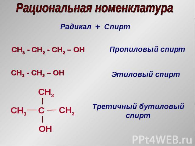 Радикал + Спирт CH3 - СH2 - CH2 – OH Пропиловый спирт CH3 - СH2 – OH Этиловый спирт СH3 С OH CH3 СH3 Третичный бутиловый спирт