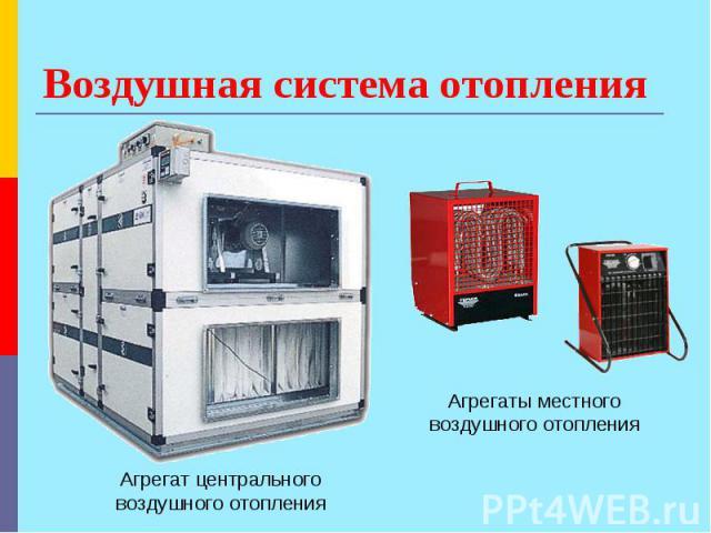 Воздушная система отопления Агрегат центрального воздушного отопления Агрегаты местного воздушного отопления