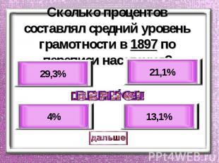 Сколько процентов составлял средний уровень грамотности в 1897 по переписи насел