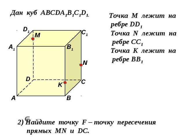 Дан куб АВСDA1B1C1D1. D1 D С1 С В1 В А1 А M Точка М лежит на ребре DD1 N Точка N лежит на ребре CC1 K Точка K лежит на ребре BB1 2) Найдите точку F – точку пересечения прямых MN и DС.