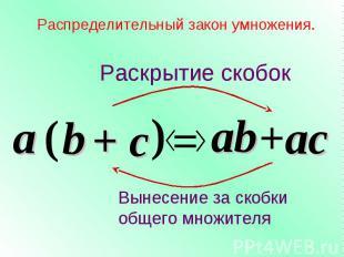 + c Распределительный закон умножения. a ( b ) = ab +ac Раскрытие скобок Вынесен
