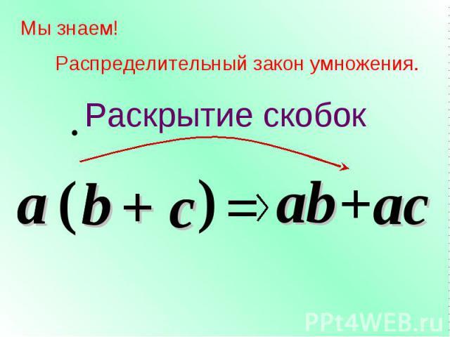 c Мы знаем! Распределительный закон умножения. a ( b ) = ab +ac a b + c Раскрытие скобок