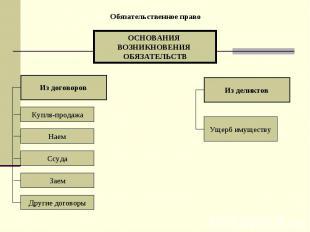 Обязательственное право ОСНОВАНИЯ ВОЗНИКНОВЕНИЯ ОБЯЗАТЕЛЬСТВ Из договоров Из дел