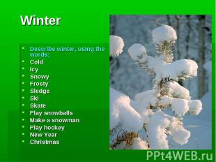 Winter Describe winter, using the words:ColdIcySnowyFrostySledgeSkiSkatePlay sno
