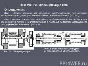 Назначение, классификация ВиО Определения: Вал – деталь машины или механизма пре