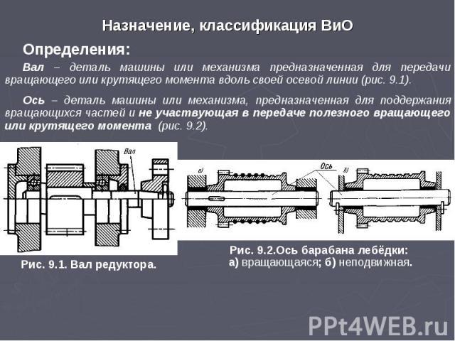 Назначение, классификация ВиО Определения: Вал – деталь машины или механизма предназначенная для передачи вращающего или крутящего момента вдоль своей осевой линии (рис. 9.1). Ось – деталь машины или механизма, предназначенная для поддержания вращаю…