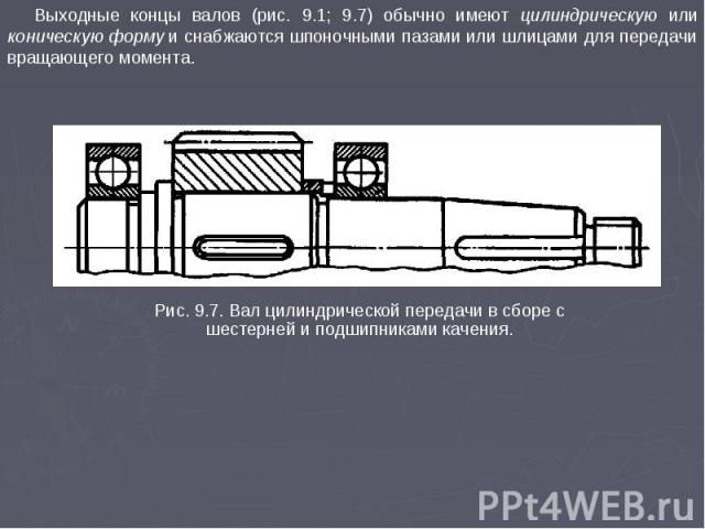 Выходные концы валов (рис. 9.1; 9.7) обычно имеют цилиндрическую или коническую форму и снабжаются шпоночными пазами или шлицами для передачи вращающего момента. Рис. 9.7. Вал цилиндрической передачи в сборе с шестерней и подшипниками качения.