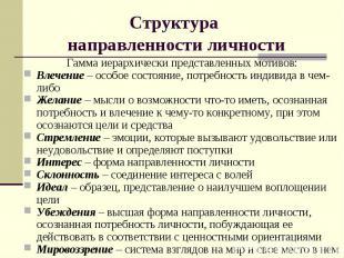 Структура направленности личности Гамма иерархически представленных мотивов: Вле