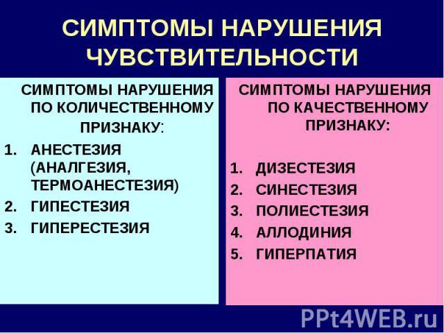 СИМПТОМЫ НАРУШЕНИЯ ЧУВСТВИТЕЛЬНОСТИ СИМПТОМЫ НАРУШЕНИЯ ПО КОЛИЧЕСТВЕННОМУ ПРИЗНАКУ: АНЕСТЕЗИЯ (АНАЛГЕЗИЯ, ТЕРМОАНЕСТЕЗИЯ) ГИПЕСТЕЗИЯ ГИПЕРЕСТЕЗИЯ СИМПТОМЫ НАРУШЕНИЯ ПО КАЧЕСТВЕННОМУ ПРИЗНАКУ: ДИЗЕСТЕЗИЯ СИНЕСТЕЗИЯ ПОЛИЕСТЕЗИЯ АЛЛОДИНИЯ ГИПЕРПАТИЯ