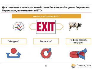 Для развития сельского хозяйства в России необходимо бороться с барьерами, возни