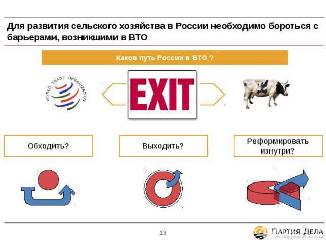 Для развития сельского хозяйства в России необходимо бороться с барьерами, возникшими в ВТО * Каков путь России в ВТО ? Реформировать изнутри? Выходить? Обходить?