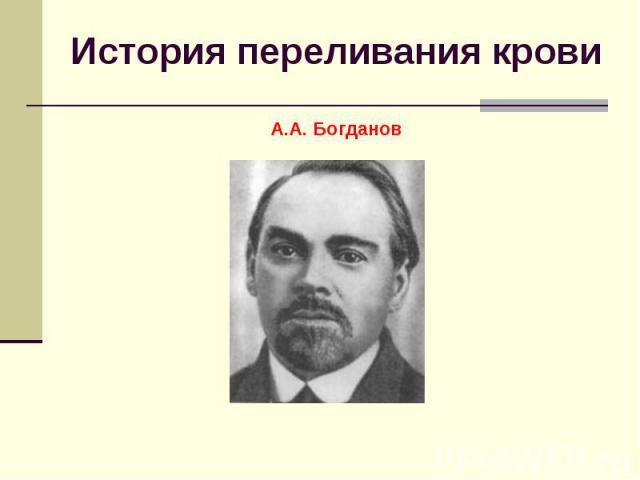 История переливания кровиА.А. Богданов