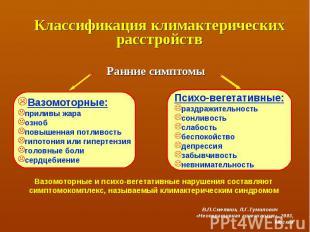 Вазомоторные: приливы жара озноб повышенная потливость гипотония или гипертензия