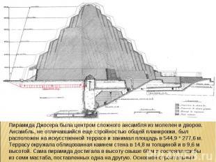 Пирамида Джосера была центром сложного ансамбля из молелен и дворов. Ансамбль, н