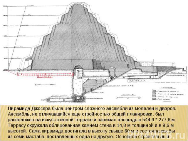 Пирамида Джосера была центром сложного ансамбля из молелен и дворов. Ансамбль, не отличавшийся еще стройностью общей планировки, был расположен на искусственной террасе и занимал площадь в 544,9 * 277,6 м. Террасу окружала облицованная камнем стена …