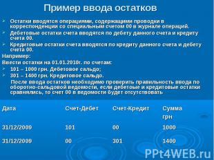 1400 301 00 31/12/2009 1000 00 101 31/12/2009 Сумма грн Счет-Кредит Счет-Дебет Д