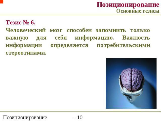 Тезис № 6. Человеческий мозг способен запомнить только важную для себя информацию. Важность информации определяется потребительскими стереотипами. Позиционирование Основные тезисы