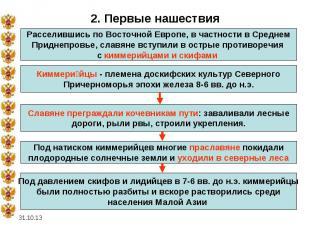 * 2. Первые нашествия Расселившись по Восточной Европе, в частности в Среднем Пр