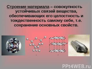 Строение материала – совокупность устойчивых связей вещества, обеспечивающих его