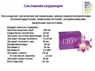 Каждая капсула содержит: Протеин морских рыб 100 мг Гидролизат коллагена 30 мг Э