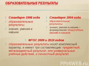Стандарт 1998 года образовательные результаты: знания, умения и навыки Стандарт