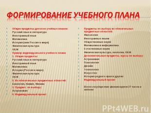 Общие предметы для всех учебных планов: Русский язык и литература Иностранный яз