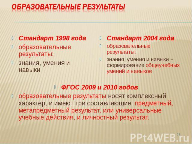 Стандарт 1998 года образовательные результаты: знания, умения и навыки Стандарт 2004 года образовательные результаты: знания, умения и навыки + формирование общеучебных умений и навыков ФГОС 2009 и 2010 годов образовательные результаты носят комплек…