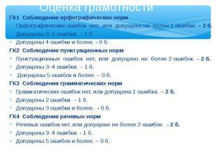 Оценка грамотности ГК1 Соблюдение орфографических норм Орфографических ошибок не