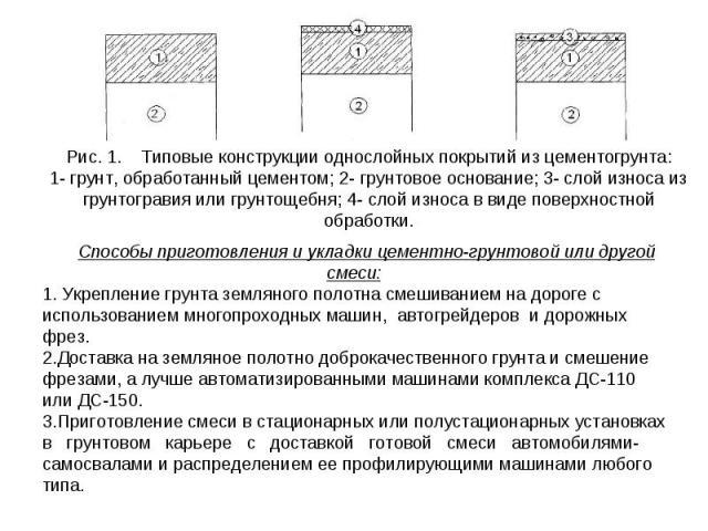 Рис. 1. Типовые конструкции однослойных покрытий из цементогрунта: 1- грунт, обработанный цементом; 2- грунтовое основание; 3- слой износа из грунтогравия или грунтощебня; 4- слой износа в виде поверхностной обработки. Способы приготовления и укладк…