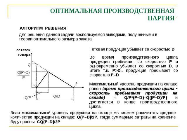 ОПТИМАЛЬНАЯ ПРОИЗВОДСТВЕННАЯ ПАРТИЯ АЛГОРИТМ РЕШЕНИЯ Для решения данной задачи воспользуемся выводами, полученными в теории оптимального размера заказа остаток товара Q/D Q/P Q Q(P–D) P Готовая продукция убывает со скоростью D Во время производствен…