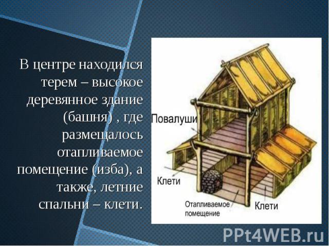 В центре находился терем – высокое деревянное здание (башня) , где размещалось отапливаемое помещение (изба), а также, летние спальни – клети.