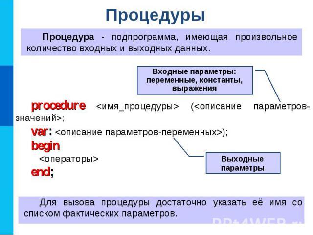 Процедуры Процедура - подпрограмма, имеющая произвольное количество входных и выходных данных. procedure (; var: ); begin end; Для вызова процедуры достаточно указать её имя со списком фактических параметров. Выходные параметры Входные параметры: пе…