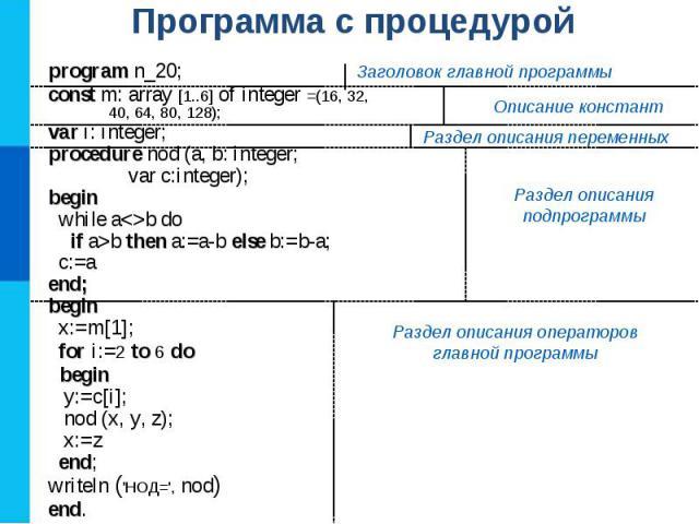 program n_20; const m: array [1..6] of integer =(16, 32, 40, 64, 80, 128); var i: integer; procedure nod (a, b: integer; var c:integer); begin while ab do if a>b then a:=a-b else b:=b-a; c:=a end; begin x:=m[1]; for i:=2 to 6 do begin y:=c[i]; nod (…