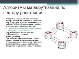 Алгоритмы маршрутизации по вектору расстояния Алгоритмы маршрутизации на основе